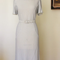 Vintage 1960s Knit Wiggle Dress with Belt and Bow, R & K Original
