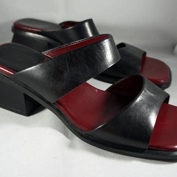 Chunky Heel Sandals 90s Slip ons, Enzo Angiolini, Leather, Black and Burgundy, Size 6 M