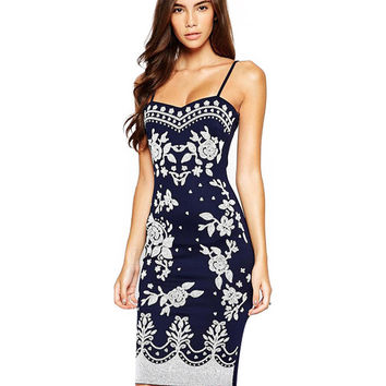 Floral Spaghetti Strap Bodycon Midi Dress