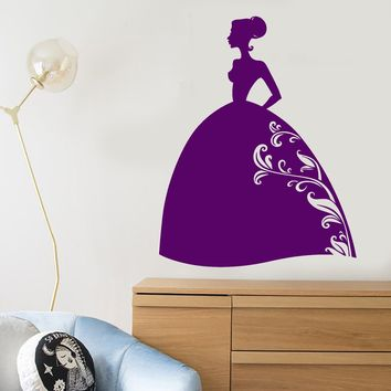 Vinyl Wall Decal Cartoon Silhouette Princess Fairy Tale For Girl Room Stickers (2685ig)
