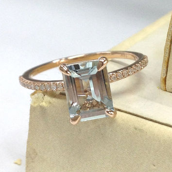Aquamarine Engagement Ring 14K Rose Gold!Diamond Wedding Bridal Ring,Claw Prongs,6x8mm Emerald Cut Blue Aquamarine,Fine Ring,Can Match Band