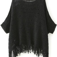 Black Batwing Sleeve Tassel Hem Knitted Sweater