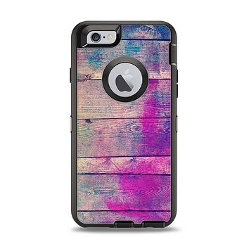 The Pink & Blue Grunge Wood Planks Apple iPhone 6 Otterbox Defender Case Skin Set