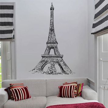 ik2682 Wall Decal Sticker Eiffel Tower Paris France living room bedroom