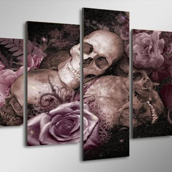 Skull N Roses 5-Piece Wall Art Canvas