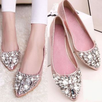 HOT SELLING Rhinestone Women Flats Fashion Flats Shoes Women Ballet Princess Shoes Ladies Casual Crystal Boat Shoes PLUS Size