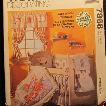 SALE Uncut McCall's Sewing Pattern, 7868! Home Decorating/Baby Room Essentials/Fitted Sheets/Crib Bumper/Window Treatment/Quilt Couette/High