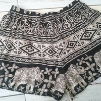 Elephant  Aztec Ethnic Print Tribal patterns Summer Beach Shorts Boho Clothing Bohemian Ikat Boxers Rayon Cute Women Unique item Black Comfy