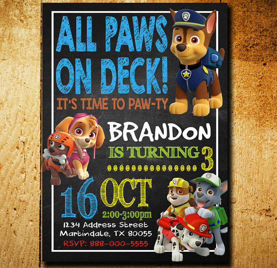 Invitations Paw Patrol Invitation Paw from fiestaprintable on