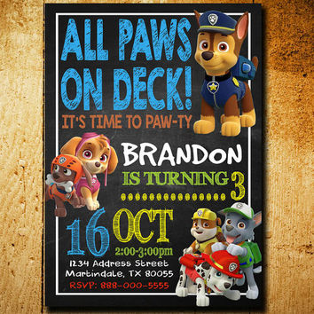 Invitations - Paw Patrol Invitation - Paw Patrol Birthday - Paw Patrol Party - Boys Invitation - Paw Party - Paw Birthday