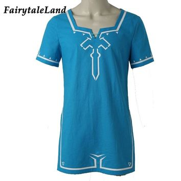 The Legend of Zelda Breath of the Wild Link T shirt Hot game cosplay Halloween Tshirt custom made unisex blue T-shirt