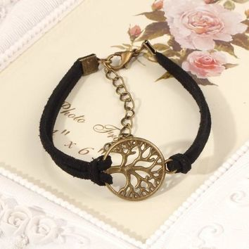 New hot sale 100% Fashion Vintage hand-woven Rope Chain Leather Bracelet Metal tree charm bracelets jewelry for women 2016