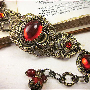 Medieval Bracelet, Ruby, Red Jewel, Renaissance Jewelry, Bridal Jewelry, Tudor Jewelry, Ren Faire, SCA, Wedding, Choose Your Color, Finish