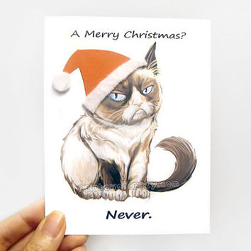 Funny Christmas Card, Grumpy Cat Card, Blank Greeting Card, Merry Christmas, Personalized Card, Customized Card, Fabric Card, Blank Notecard