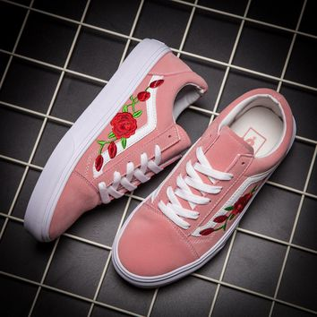 Vans Classics Old Skool Rose Floral Embroidered Sneaker Women Casual Shoes
