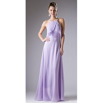 Halter Ruffled Bust Long A-Line Bridesmaids Dress Lilac
