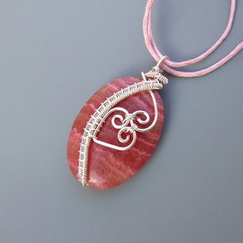 Pink heart necklace rhodochrosite stone silver plated handmade elegant, romantic wire wrapped jewelry