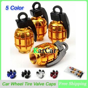 DCK9M2 1Sets Universal Aluminum Grenade Design Car Wheel Tyre Valve Caps, Bicycle Tire Air Valve Cap
