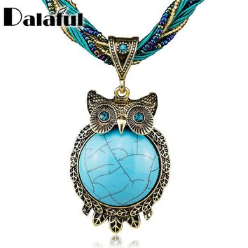 Fashion Hot Owl Lovely Round Gem Bronze Glass Beads Pendant Clavicle Necklace Free Shipping B044