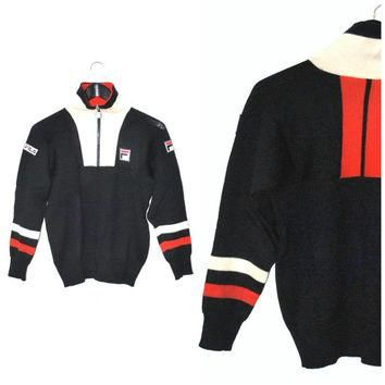 RARE vintage 1970s FILA pull over sweater ATHLETIC retro zip up jumper small
