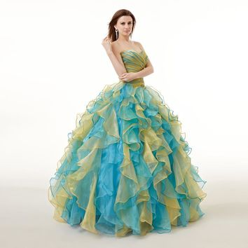 2018  Hot Sale Real Images Quinceanera Dress Multi Colors Long Ruffles Beaded Backless Formal Party Gown Plus Size