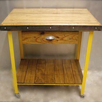 KITCHEN ISLAND: Table, Handmade, Wood, Made to Order, Rustic Island, Furniture, Storage, Bar,