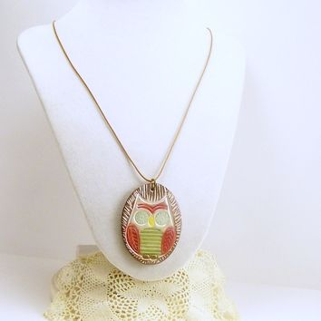 Woodland Owl Pendant Necklace, Unique OOAK Pendant, Fun Jewelry, Affordable Handmade Polymer Clay Jewelry