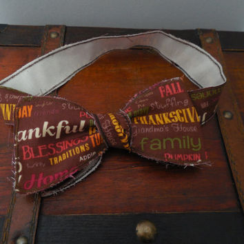 Thanksgiving Rustic/Rough Edged Bow Tie. Multiple Sizes Available
