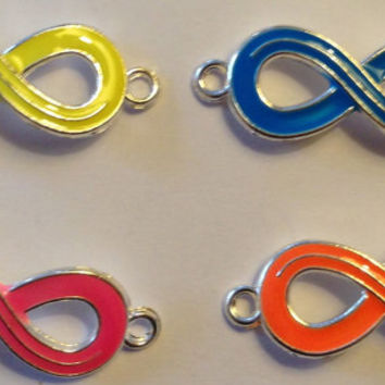New Set of 4 Neon Infinity Sign Connector Charms for Bracelets Loom Jewelry Fun Yellow Blue Pink Orange