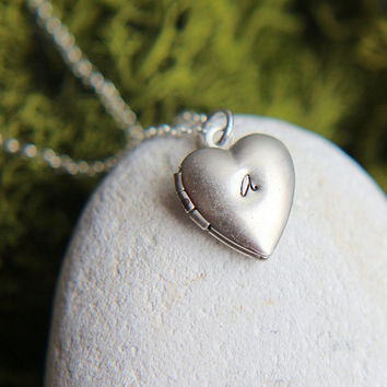 Personalized Locket, Tiny Locket Necklace, Silver Heart Locket, Little Heart Locket Necklace, Sterling Silver chain, Personalized Jewelry