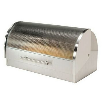 Satin finish Stainless Steel Bread Box with Textured Tempered Glass Top Roll Up