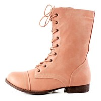 REFRESH LIBBY-01 Womens Combat Military Army Lace Up Ankle Boot,Libby-01 Blush 8.5