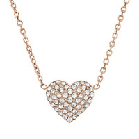 Michael Kors Rose Gold-Tone Crystallized Heart Pendant Necklace