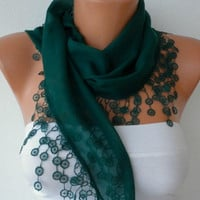 Emerald Green Scarf  - Cotton  Scarf -  Cowl with Lace Edge   -