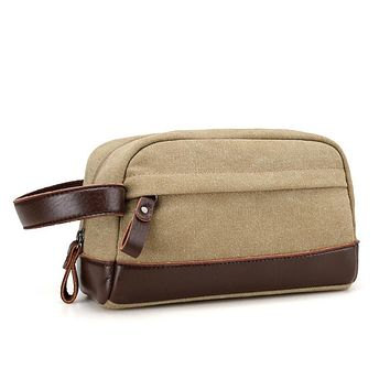 DAYGOS Vintage Men Leather Handbag Canvas Toiletry Bags Travel Packing Cubes Cosmetic Bag Wrist Bag