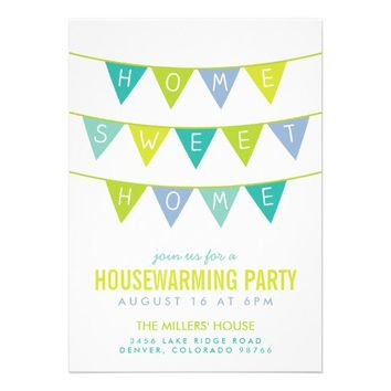 CUTE MODERN BUNTING & STRIPES HOUSEWARMING PARTY INVITATIONS from Zazzle.com