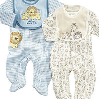 Little Me Baby Set, Baby Boys Footed Coverall & Bib - Kids Baby Boy (0-24 months) - Macy's