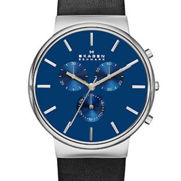 Skagen Mens Ancher Chronograph - Blue Dial - Stainless Steel - Black Leather