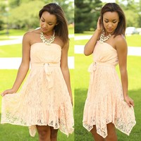 Row Row Romance Dress in Peach