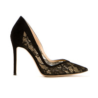 GIANVITO ROSSI BLACK SUEDE AND LACE EDGILE PUMPS