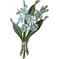 "Trifari Book Piece ""FLOWERS"" Vintage 1940 Rhinestone Enamel Alfred Philippe Fur Clip Pin in RARE Color"