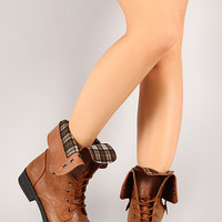 Tammy-12 Plaid Cuff Military Lace Up Boot