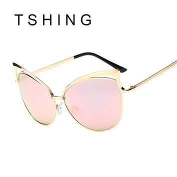 Sexy Lady Cat Eye Sunglasses Women Metal Big Frame Brand Designer Mirror Cateye Sun Glasses Vintage Female Vogue Celebrity Shade