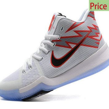 Original Nike Kyrie 3 Greased Lightning PE White Red sneaker