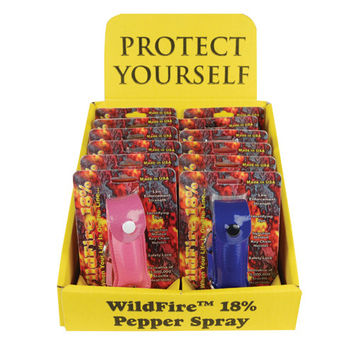 12 - WildFire 1/2 oz Leatherette Pepper Spray Mixed with Counter Display