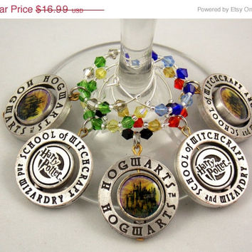 Harry Potter inspired wine glass charms set of 5 fantasy charms handmade wine charms party holiday wine charms