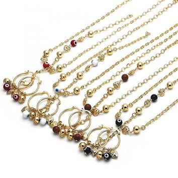 Gold Layered Necklace, Bracelet and Earring, Heart and Greek Eye Design, Golden Tone