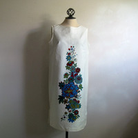 Floral 70s Sleeveless Summer Shift Vintage 1970s Dorsay White Day Dress Medium