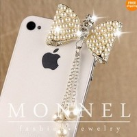 Ip489 Cute Big Bow Anti Dust Plug Cover Charm for Iphone Android 3.5mm