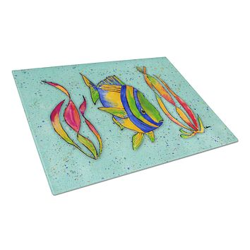 Tropical Fish on Teal Glass Cutting Board Large